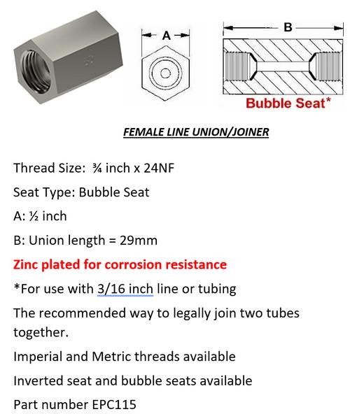 "Female Brake Line Union - Joiner Bubble Seat 3/4"" x 24 NF"