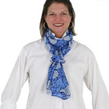 Women's blue and white, lightweight scarf