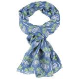 Women's soft gauzy scarf in blue green