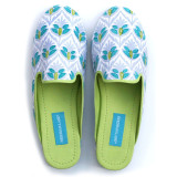 Cotton canvas mule slippers in prints with rubber sole