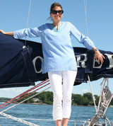Women's blue 100%  cotton tunic top