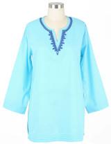 Women's blue lightweight cotton tunic top
