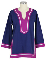 Seabury Navy/Plum ~ Cotton Poplin Tunic