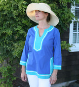 Seabury Cobalt/Teal ~ Cotton Poplin Tunic