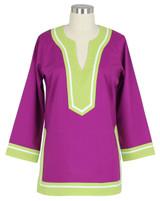 Seabury Plum/Lime ~ Cotton Poplin tunic