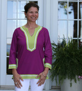 Seabury Plum/Lime ~ Cotton Poplin tunic
