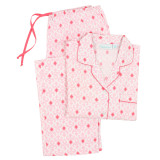 Boyfriend style women's long sleeve crisp poplin 100% cotton pajamas
