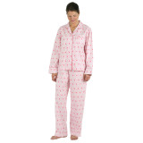 Traditional women's long sleeve pink pure soft cotton poplin pajamas.