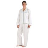 Women's long sleeve, button-down cotton poplin pajamas