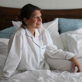 Women's long sleeve, button-down crisp cotton poplin pajamas