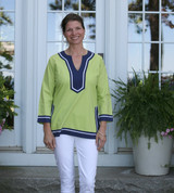 Seabury Lime/Navy ~ Cotton Poplin Tunic