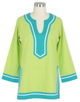 Seabury Lime/Teal ~ Cotton Voile Tunic