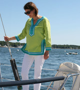 Seabury Lime/Teal ~ Cotton Voile Tunic