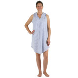 Women's soft and comfortable 100% all cotton seersucker sleeveless summer nightgown