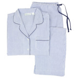 Blue Seersucker blue and white striped cotton long sleeve 2-piece pajamas for women