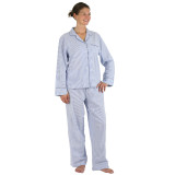 Classic Blue Seersucker cool and comfy all cotton blue and white striped pajamas for women