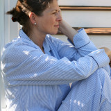 Traditional blue and white striped pure comfortable cotton seersucker pajamas for women