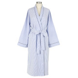 Traditional women's all cotton blue and white seersucker  soft cotton wrap robe