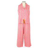 Womens 100% cotton voile sleeveless capri pajama set
