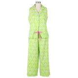 All cotton soft voile sleeveless capri pyjamas for women