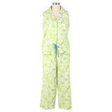 Women's sleeveless capri cotton pjs perfect for hot and humid summer weather.