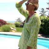 Women's lightweight 100% soft cotton voile v neck tunic top for summer beach cover up