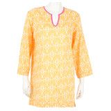 Our beautiful Nevis Sunset lightweight cotton voile tunic. Ideal for the beach or hot humid days of summer. Soft to the skin. Inspired by a golden sunset