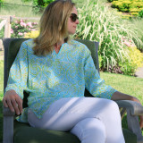Women's soft  lightweight 100% cotton split neck tunic.
