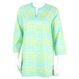 Easy to care for stylish tunic that you dress up or dress down. Beautiful design and lightweight fabric. Voile cotton is perfect for those hot and humid days of summer.