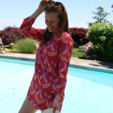 Women's 100% cotton split neck tunic  beach cover up