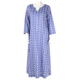 Casual and comfortable Light weight 100% cotton voile blue caftan