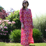 Soft 100% cotton long caftan for women. Perfect for lounging or entertaining