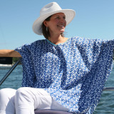 Blue and white one size fits most poncho style kaftan. Perfect kaftan for beach cover up.