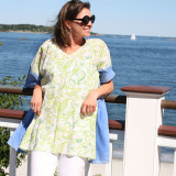 Calypso Lime ~ Cotton Voile V-Neck Kaftan