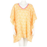 Comfy all cotton voile kaftan. Poncho style. One size fits most