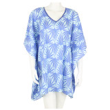 Soft cotton voile mid-length caftan. Easy to pack. Great for beach cover up