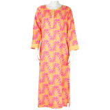 Light weight cotton caftan with 3/4 sleeve length