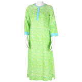 100% cotton caftan for women. 3/4 sleeve.