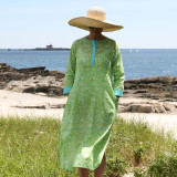 Green and blue cotton voile long beach women's caftan