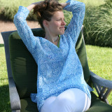 Blue cotton v neck tunic top for summer