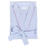 Women's shawl collar 100%  soft cotton blue and white seersucker robe