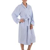 Women's  soft, 100% cotton blue and white striped seersucker wrap robe