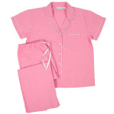 Women's pink chambray  pure cotton short sleeve pj set