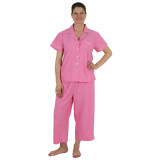 Soft and comfortable short sleeve pajamas in pink cotton chambray