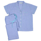 Women's cotton blue & white striped short sleeve top, capri pants pajama set