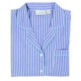 Women's blue & white striped short sleeve pajamas folded