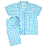 Women's short sleeve top, capri pants cotton pajama set in aqua and white gingham