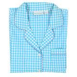 Women's short sleeve cotton pajama set in aqua and white gingham folded