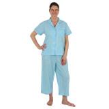 Woman wearing short sleeve top, capri pants cotton pajama set in aqua and white gingham