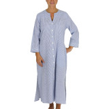 Blue and white seersucker ankle length caftan